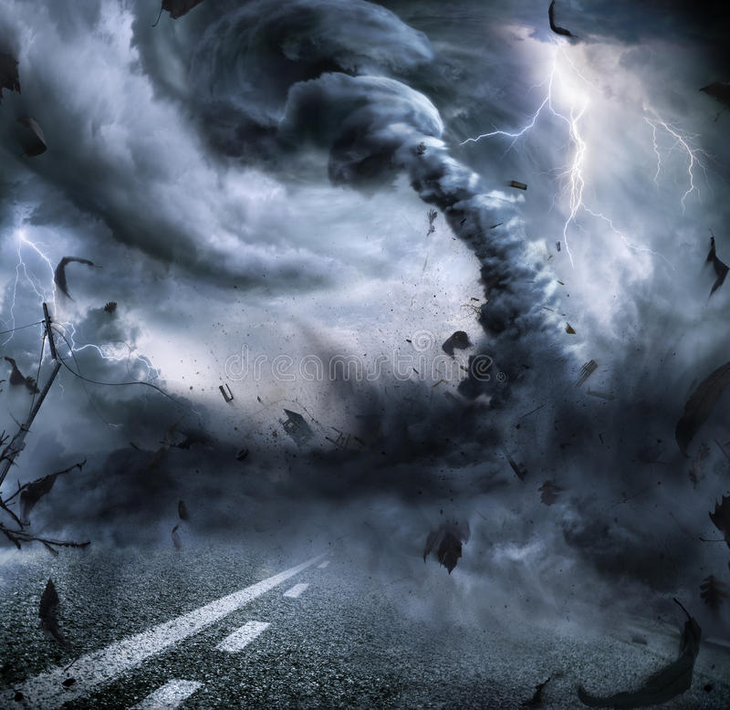 Powerful Tornado - Dramatic Destruction. On The Road royalty free stock images