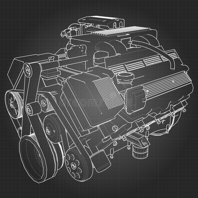 Powerful V8 car engine. The engine is drawn with white lines on a black sheet in a cage.  royalty free illustration