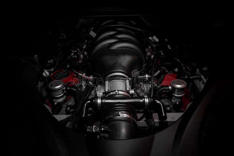 Powerful v8 motor of fast Italian car royalty free stock photography