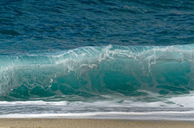 The powerful waves crashing on the beach. Riaci beach near Tropea, Italy royalty free stock images