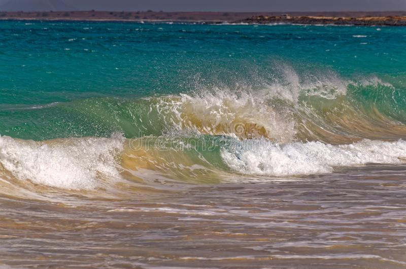 Powerful waves crashing on the beach. On Sal, Cape Verde royalty free stock image