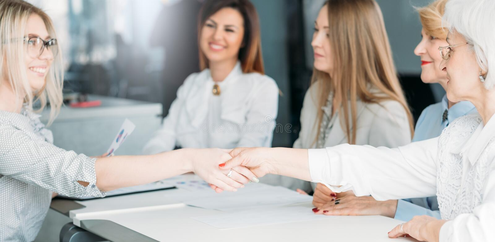 Powerful women business job interview recruitment. Job interview. Powerful women in business. Recruitment and employment. Young ambitious applicant getting hired royalty free stock photo
