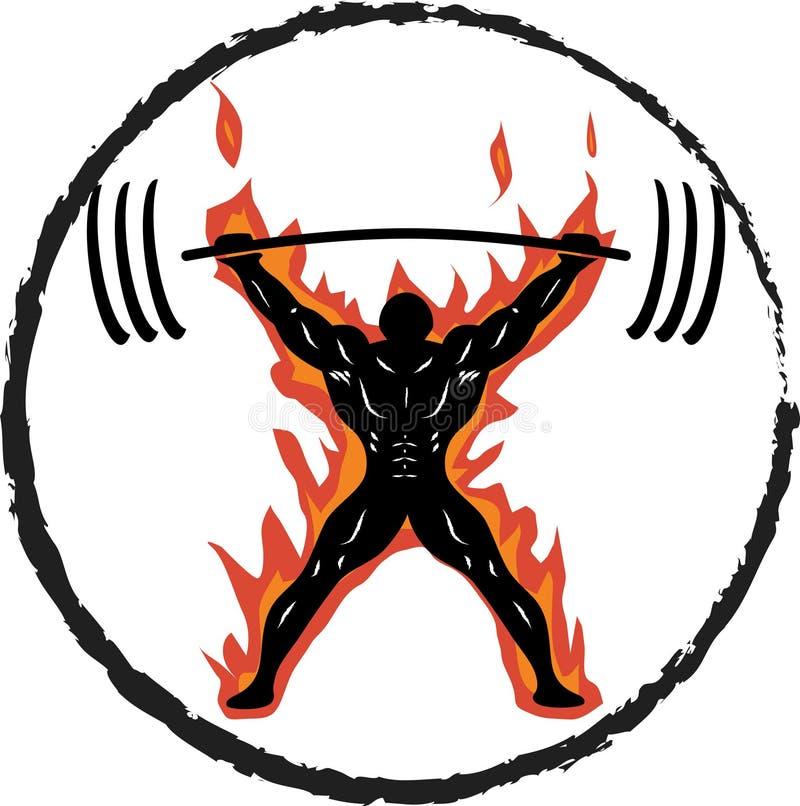 Powerlifter auf Feuer-Zugreifen stock abbildung
