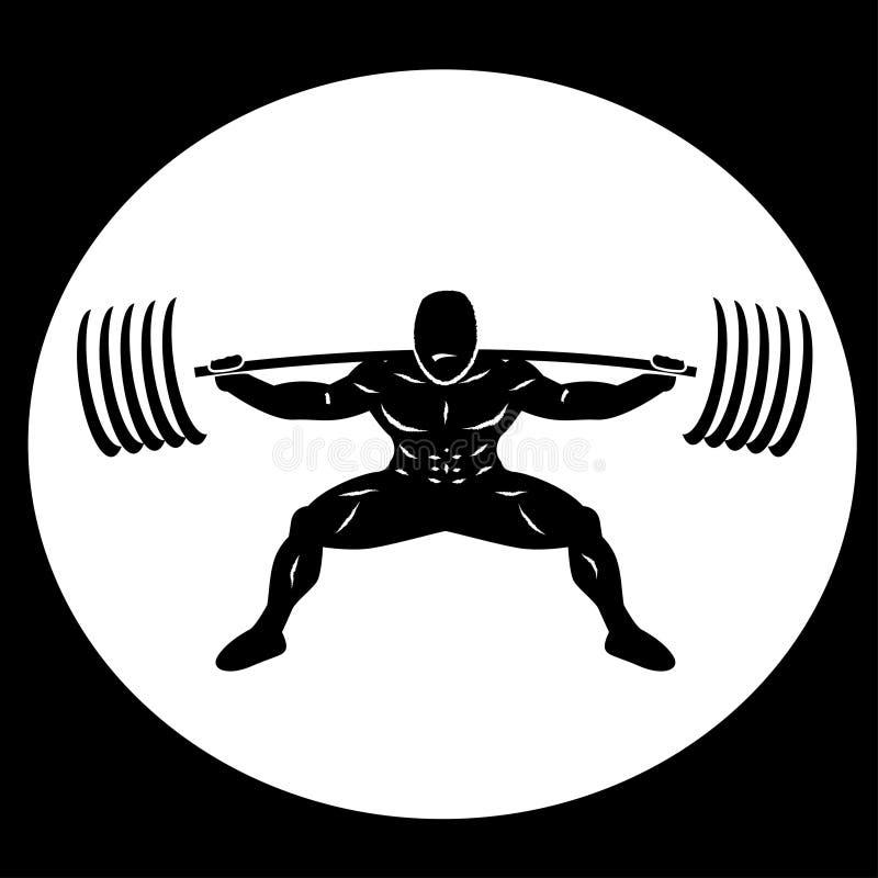 Powerlifter, das schwere Gewichte hockt vektor abbildung