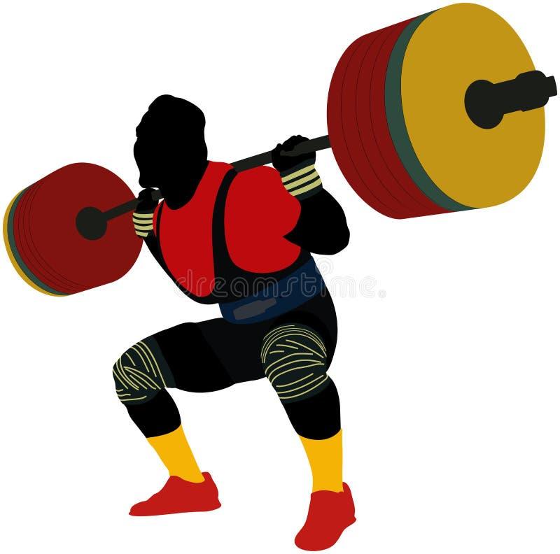 Powerlifter masculino del atleta stock de ilustración