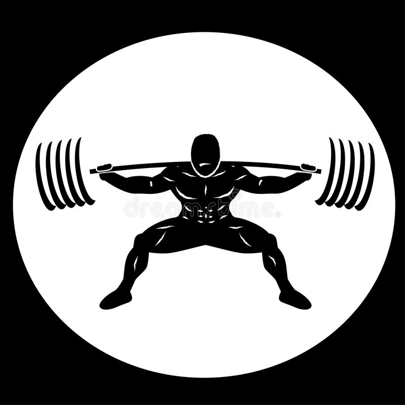Powerlifter Squatting Heavy Weights vector illustration
