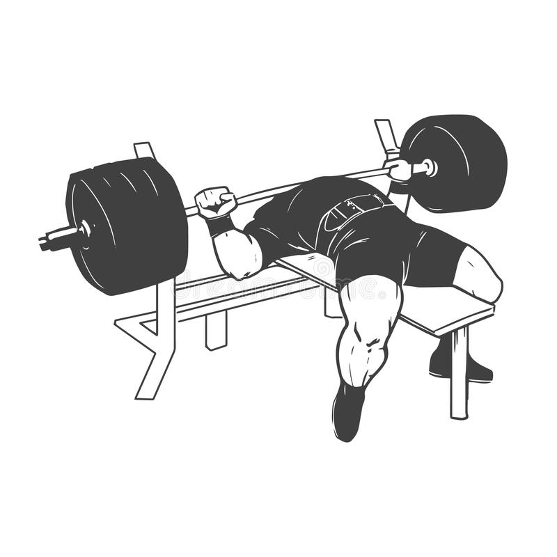 Powerlifting ławki prasa ilustracja wektor