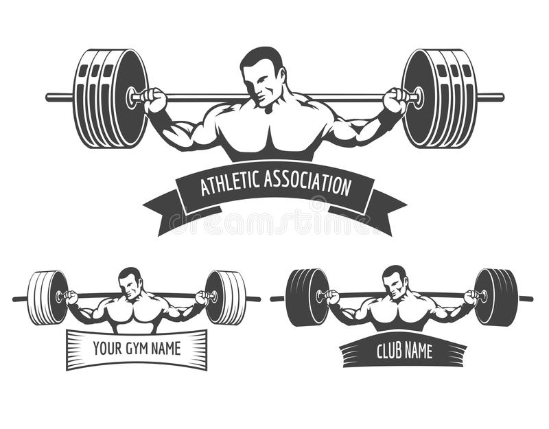 Powerlifting athletic logo set stock vector illustration