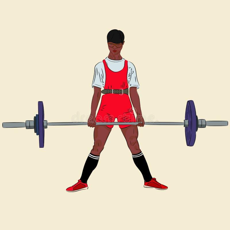 Powerlifting Deadlift Afrikaanse Amerikaanse atleet die barbell opheffen stock illustratie