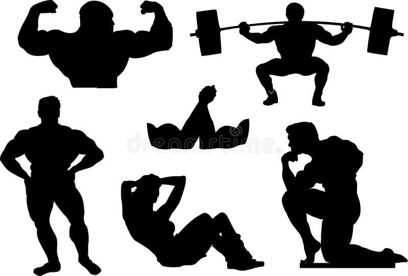 Powerlifting, gewichtheffen of het bodybuilding silhouetten stock illustratie