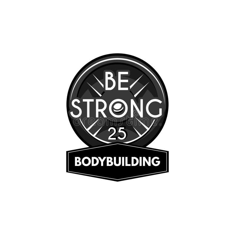 Powerlifting Platte des Gewichthebens Bodybuildinglogoaufkleber Barbellscheibe Vektor vektor abbildung