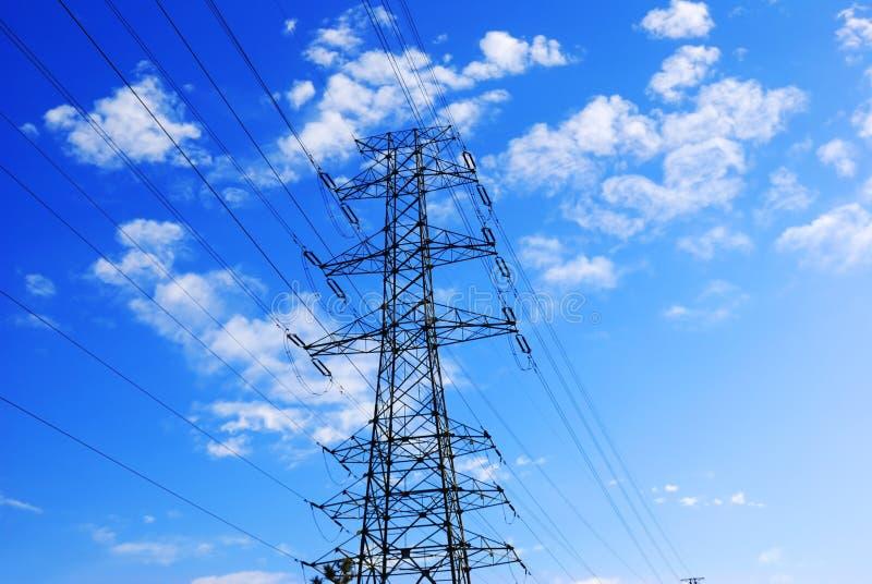 Powerlines elettrici fotografia stock