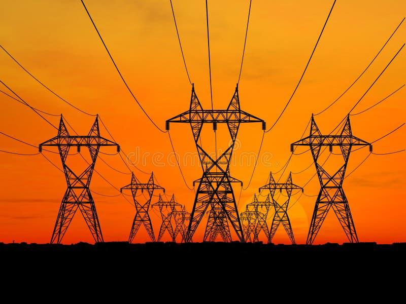 Powerlines elettrici fotografie stock libere da diritti
