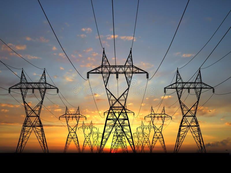 Powerlines elettrici immagine stock