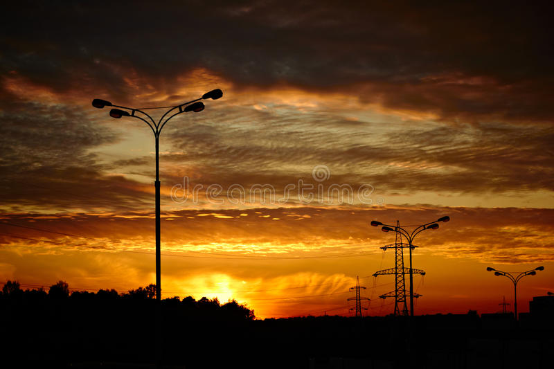 Download Powerlines And A Road Lantern Stock Photo - Image: 26612072