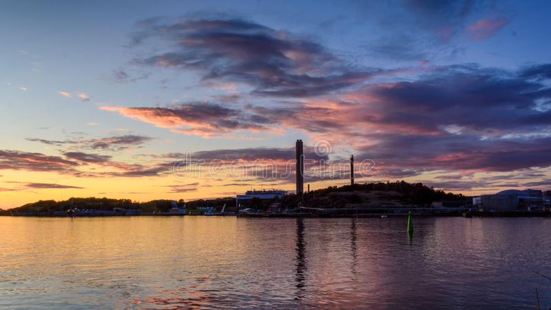 Powerplant as seen from redstone. Gothenburg with setting sun bringing life to colorful clouds stock photos