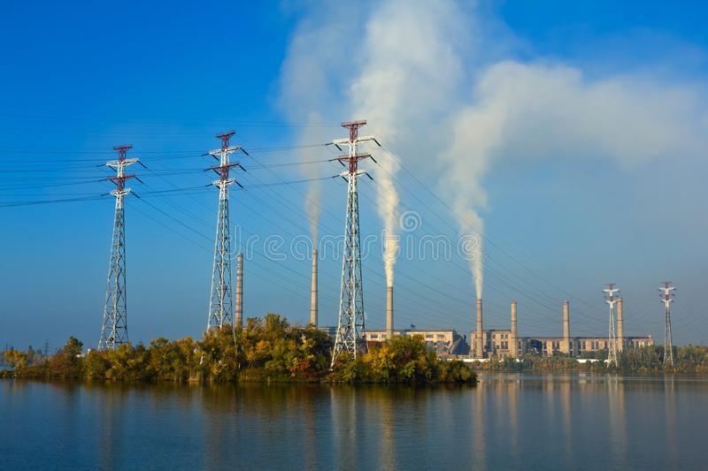 Powerplant On A Lake Coast Stock Photos