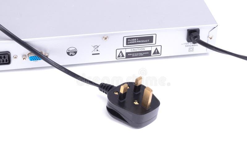 Powerplug di un lettore DVD isolato fotografia stock libera da diritti