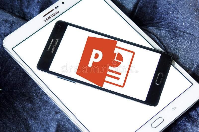 Powerpoint logo. Logo of microsoft office powerpoint program on samsung mobile on samsung tablet royalty free stock images