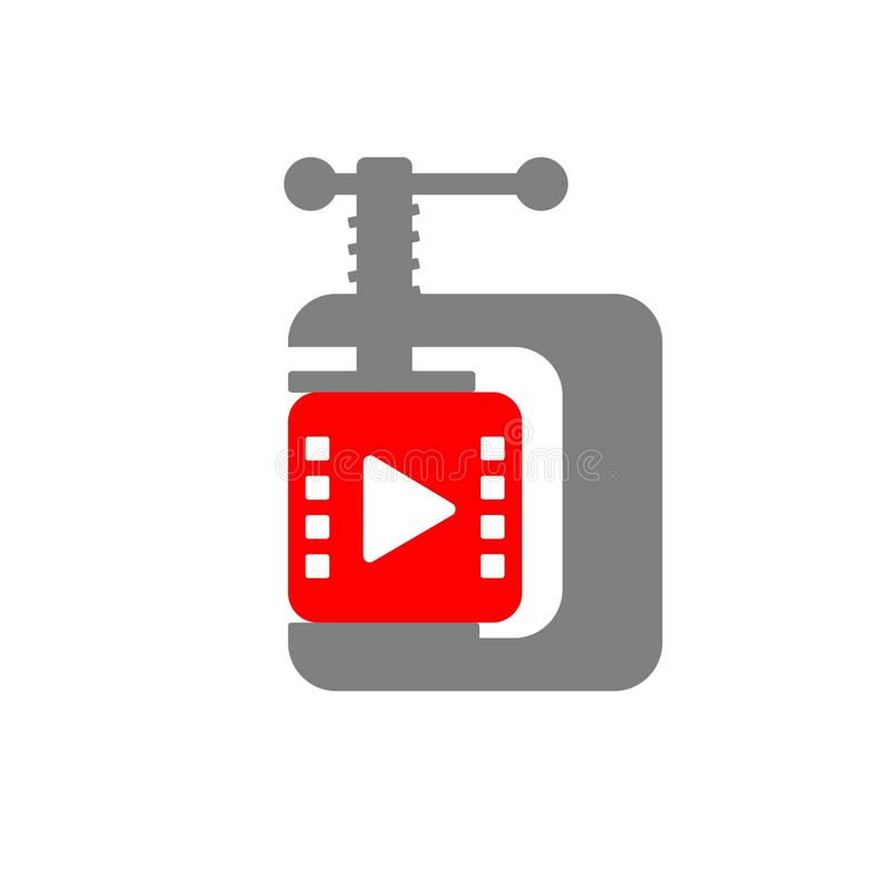 Video compressing icon shows a video cube  compressed by clamp. In a simple style vector illustration