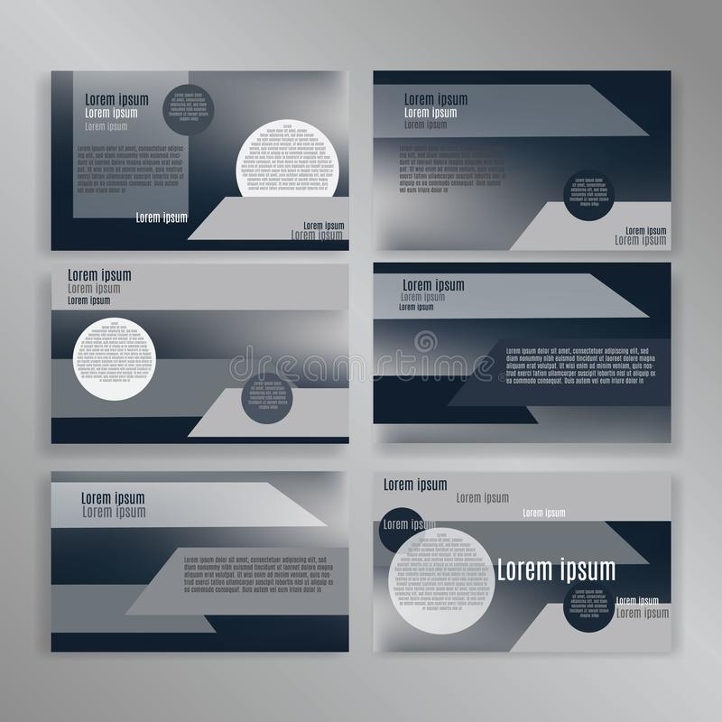 Powerpoint slides presentation templates set. Can be used in creative flyer and style info banner, trendy strategy mockups royalty free illustration