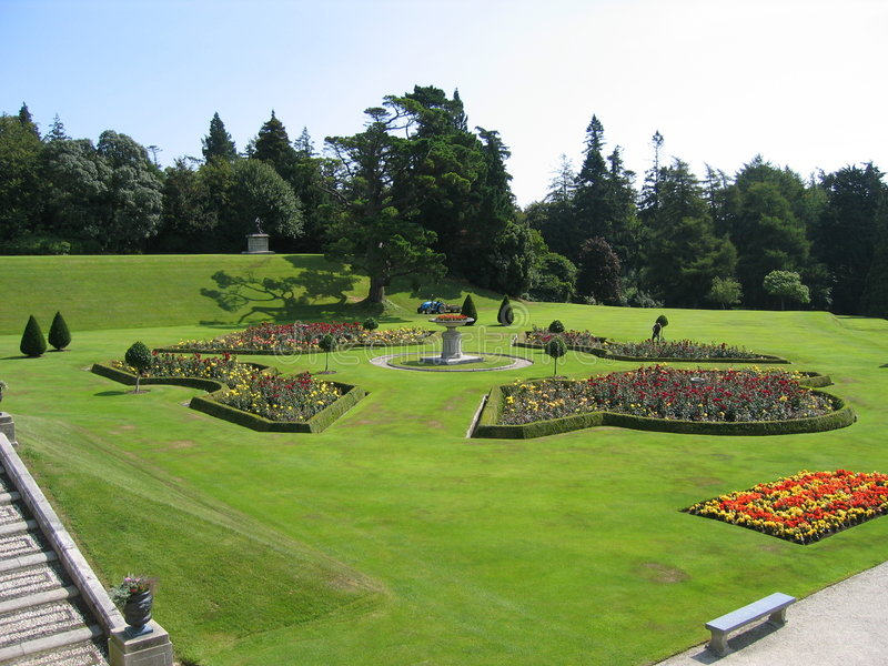 Powerscourt Garden. A beautiful view of the the Powerscourt house stairs and gardens in Wicklow, Ireland royalty free stock photo