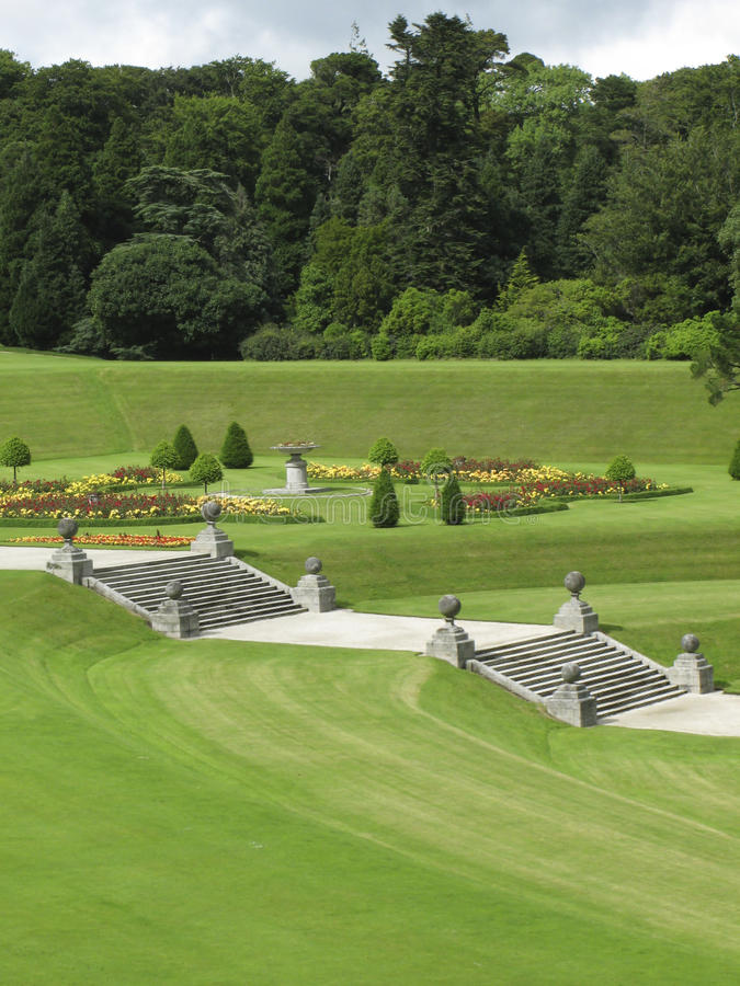 Powerscourt Gardens. Stairs in the formal gardens at Powerscourt, Ireland stock photos