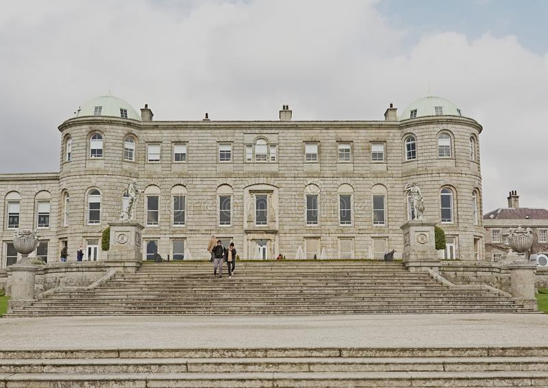 Powerscourt house, esigned by  Richard Cassels. Wicklow county, Ireland. People on the staircase in front of Powerscourt house, Enniskerr, Wicklow county stock image