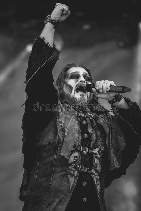 Powerwolf, Attila Dorn live concert Hellfest 2017. Powerwolf is a German power metal band created in 2003 by Charles and Matthew Greywolf. The group is notable stock photos