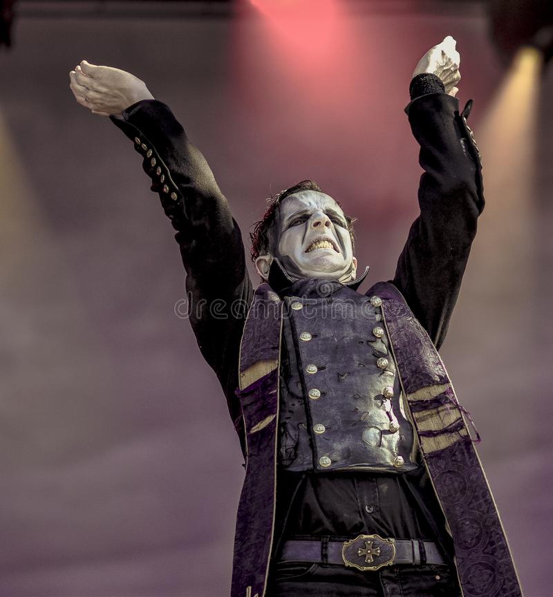 Powerwolf, Falk Maria Schlegel live in concert 2017. Powerwolf is a German power metal band created in 2003 by Charles and Matthew Greywolf. The group is notable stock images