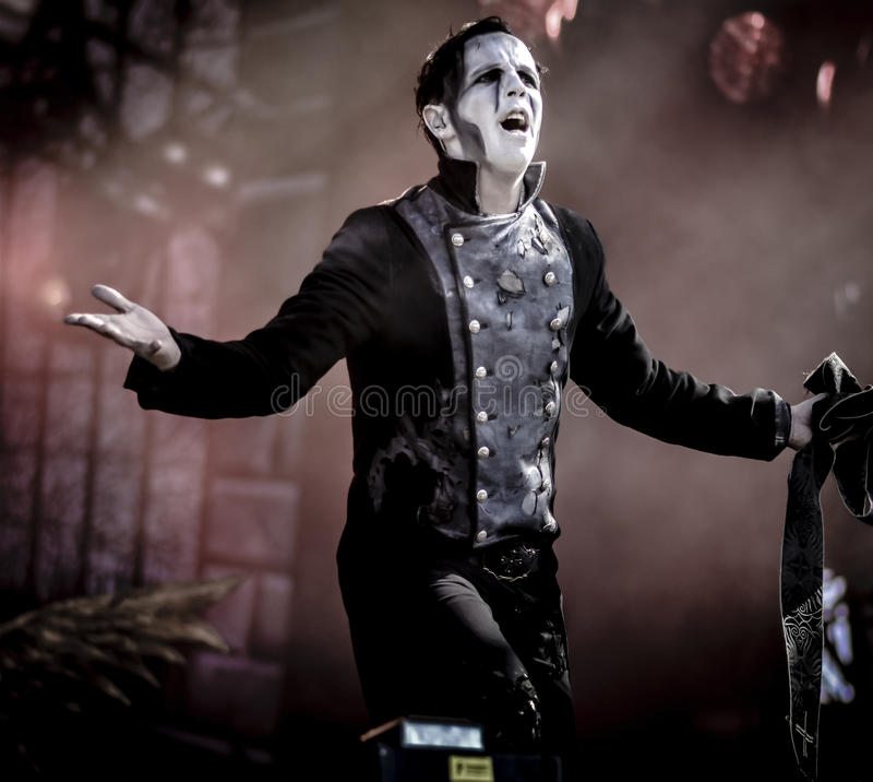 Powerwolf, Falk Maria Schlegel live in concert 2017. Powerwolf is a German power metal band created in 2003 by Charles and Matthew Greywolf. The group is notable stock image