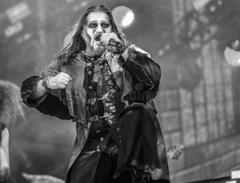 Powerwolf live in concert 2017 Attila Dorn. Powerwolf is a German power metal band created in 2003 by Charles and Matthew Greywolf. The group is notable for royalty free stock image