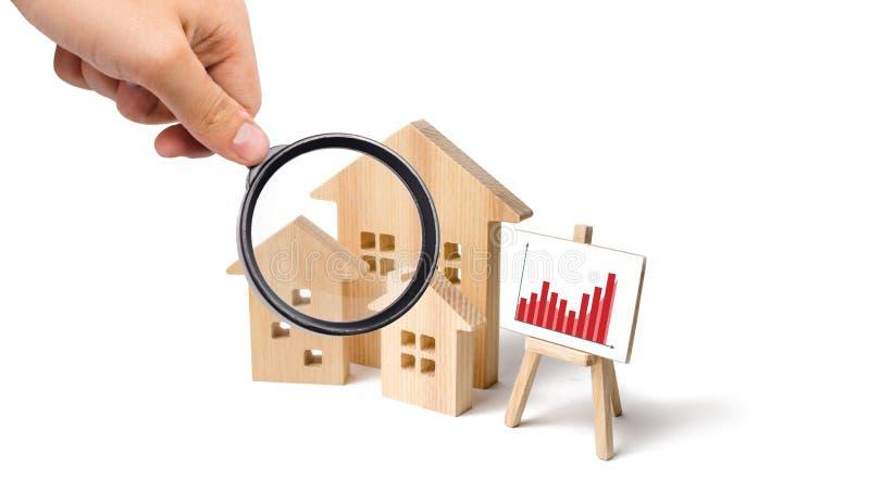 Powiększać - szkło jest przyglądający drewniani domy z stojakiem grafika i informacja Rosnący popyt dla mieścić obrazy royalty free