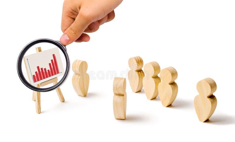 Powiększać - szkło jest przyglądający statystyki wykres Drewniane postacie ludzie stojaka w formacji i słuchają ich lider zdjęcie stock