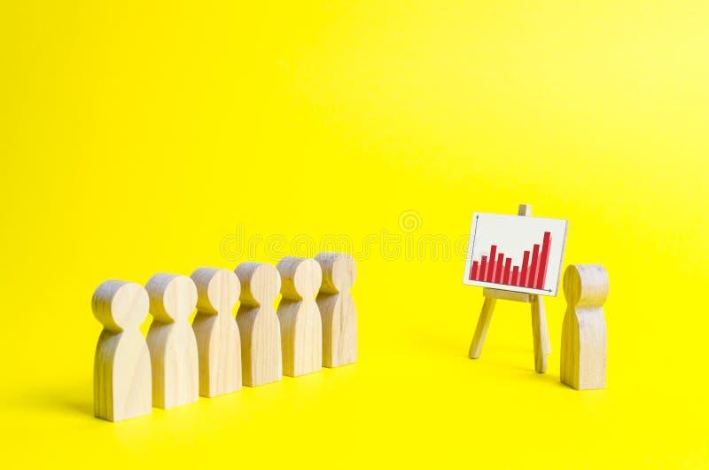 Powiększać - szkło jest przyglądający statystyki wykres na żółtym tle drewniane postacie ludzie stojaków i słuchają fotografia stock