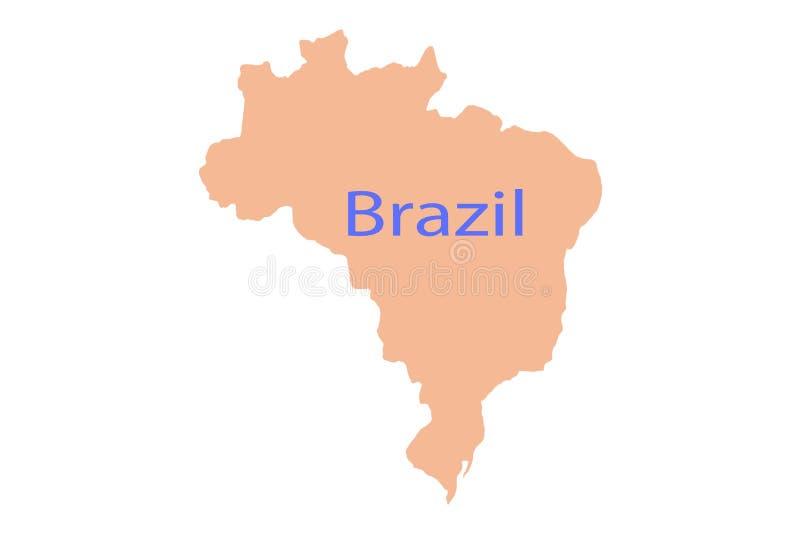 Powiększający Brazylia na mapa kraju de uziemia grafikę ilustracji