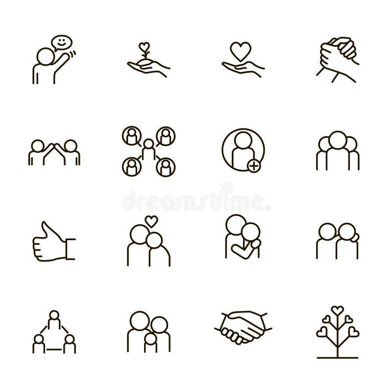 Powiązania i emocja znaków czerni ikony Cienki Kreskowy set wektor royalty ilustracja