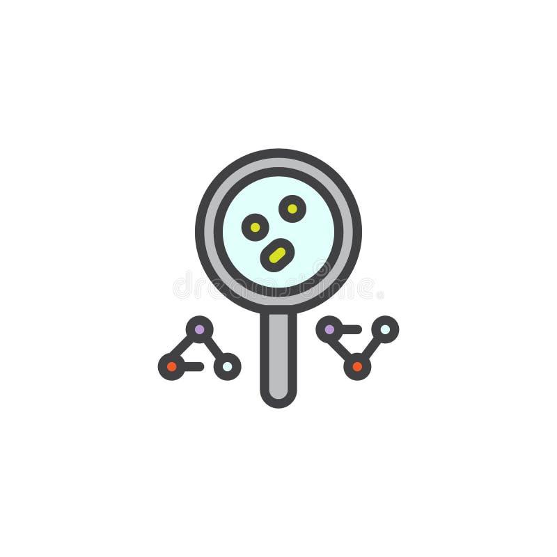 Powiększać - szkło i molekuła wypełniający zarysowywamy ikonę ilustracja wektor