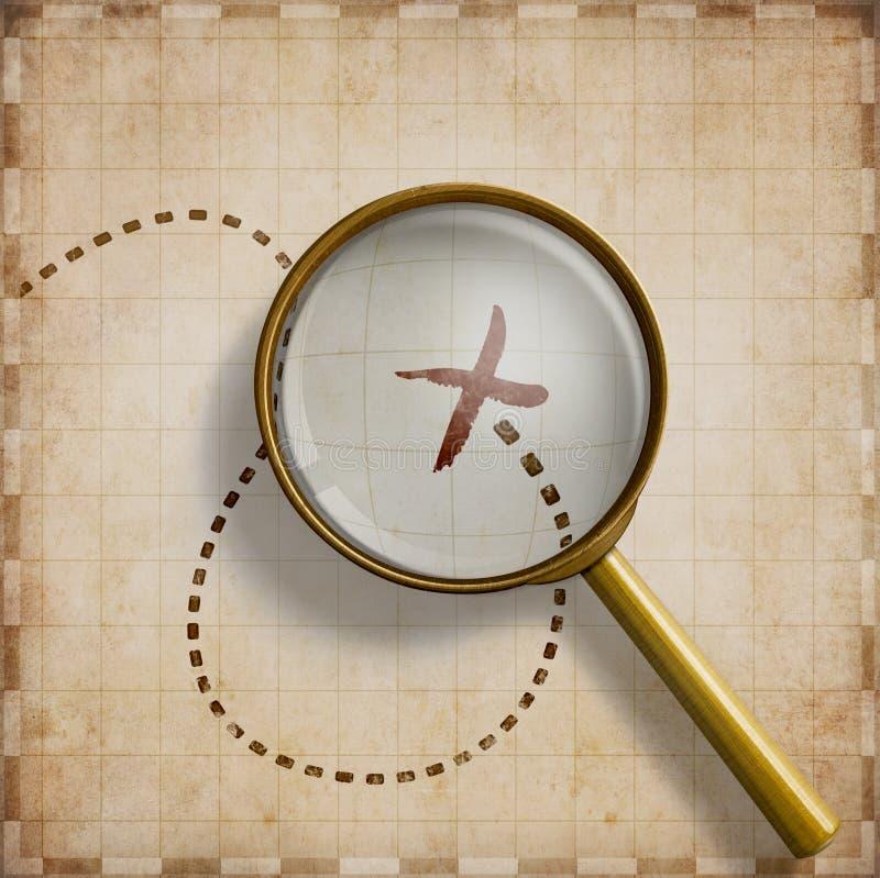 Powiększać - szkło z ocenioną lokacją na starej mapy 3d ilustraci obraz royalty free