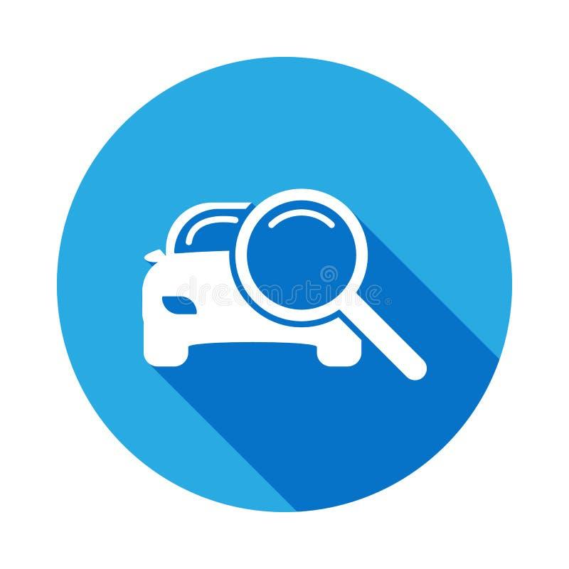 powiększać - szkło z samochodową ikoną z długim cieniem Element samochodowe remontowe usługi ilustracyjne Znaki i symbol ikona dl royalty ilustracja