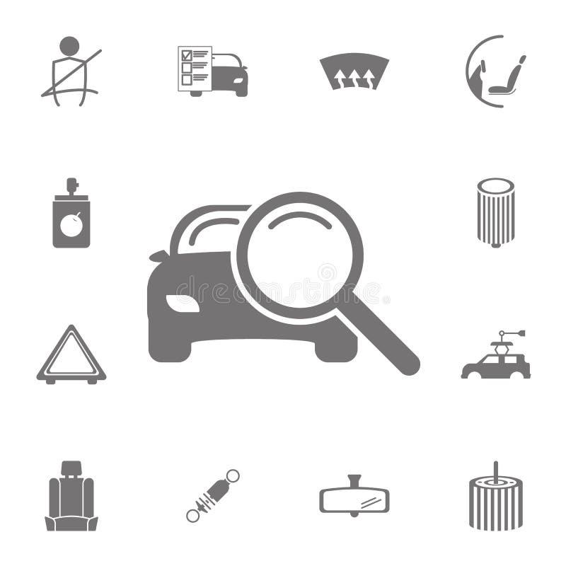 Powiększać - szkło z samochodową ikoną Set samochód naprawy ikony Znaki kolekcja, proste ikony dla stron internetowych, sieć proj royalty ilustracja