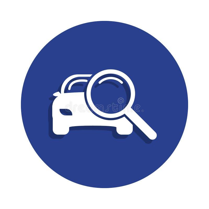 powiększać - szkło z samochodową ikoną w odznaka stylu Jeden samochód repear inkasowa ikona może używać dla UI, UX ilustracja wektor