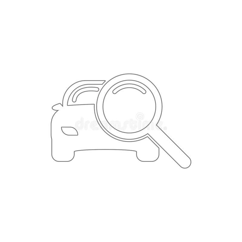 powiększać - szkło z samochodową kontur ikoną Elementy samoch?d naprawy ilustracji ikona Znaki i symbole mog? u?ywa? dla sieci, l royalty ilustracja