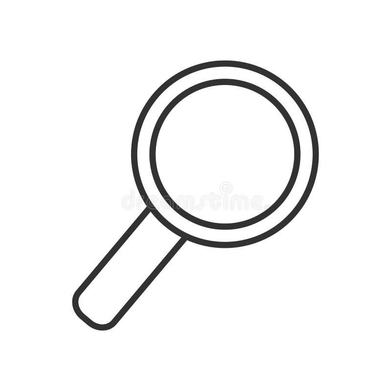 Powiększać - szklanego konturu Płaska ikona na bielu royalty ilustracja