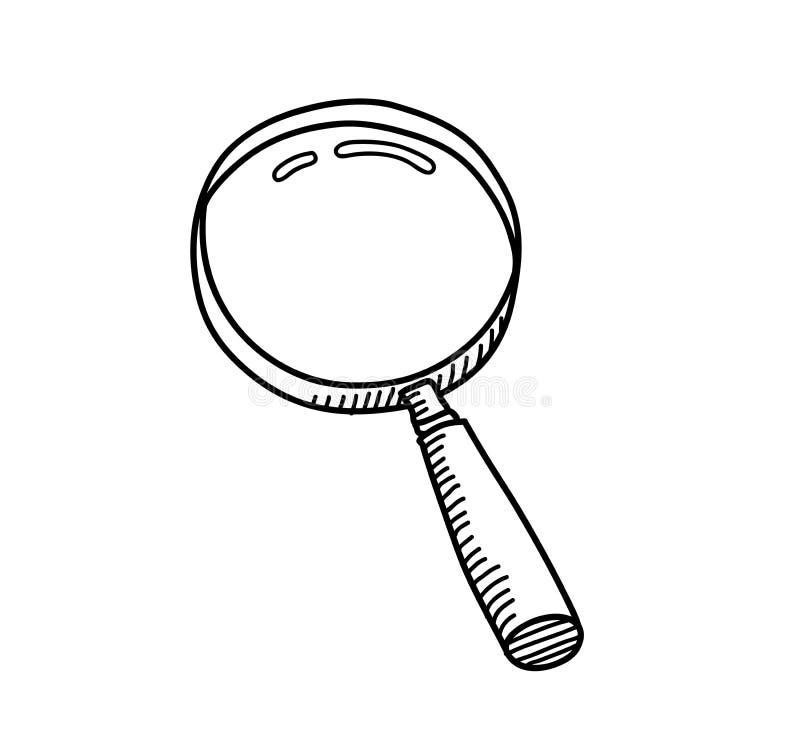 Powiększać - szklany doodle ilustracja wektor