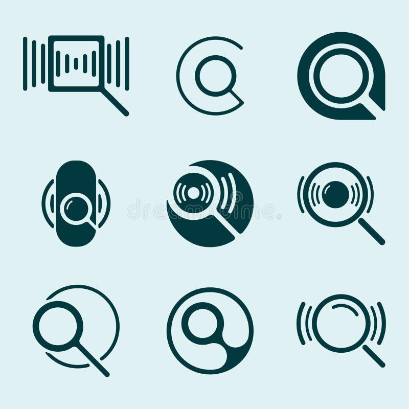 Powiększać - szklany ikona set ilustracji