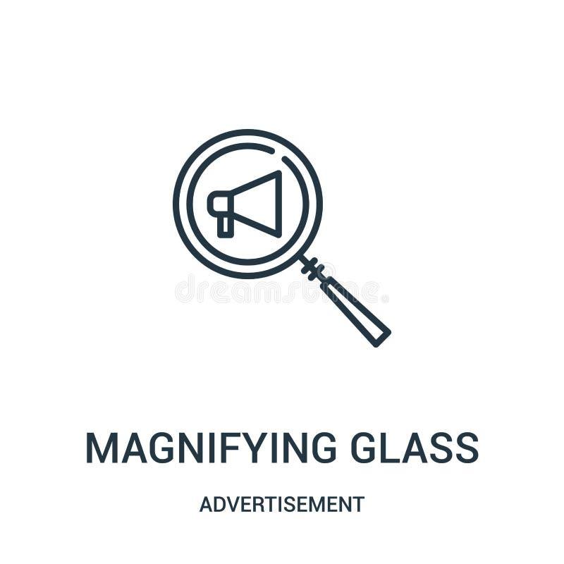 powiększać - szklany ikona wektor od reklamy kolekcji Cienka linia powi?ksza - szklana kontur ikony wektoru ilustracja ilustracji