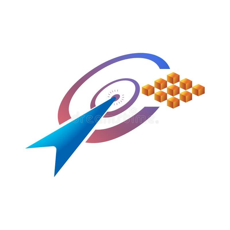 Powiększać - szklany logo kursor ikona w centrum, stosownym dla cyfrowego biznesu ilustracja wektor