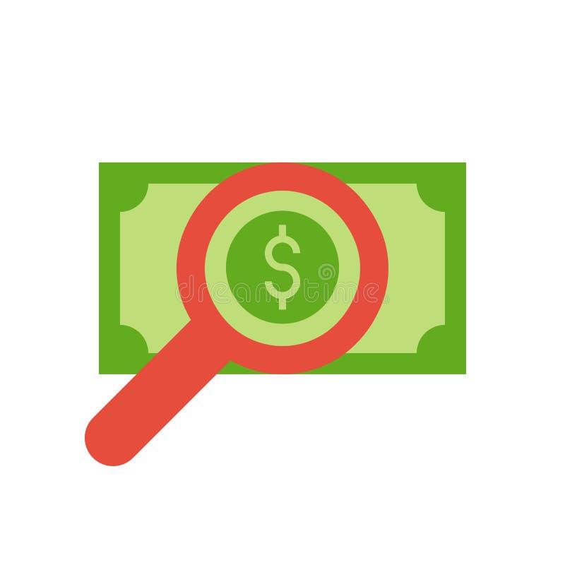 Powiększa szkło, banknot, analiza i sprawdzać ekonomicznego concep, royalty ilustracja