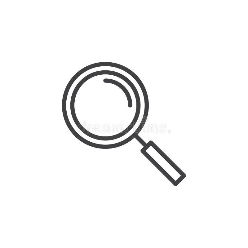 Powiększający - szkło kreskowa ikona, konturu wektoru znak, liniowy stylowy piktogram odizolowywający na bielu royalty ilustracja